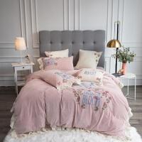 君别公主少女花朵刺绣宝宝绒四件套加厚冬季珊瑚法兰莱床上被套 丽莎 2米床(被套220*240) 七件套