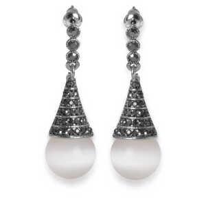 梦克拉 S925银耳环玻璃猫眼石耳坠 纯洁 长款耳坠 耳环  可礼品卡购买