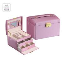 首饰盒珠宝收纳盒化妆盒收纳盒化妆品饰品储物箱欧式三层大容量分格抽屉整理小盒子