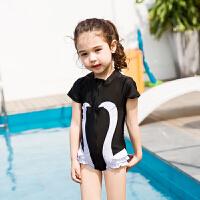 2017新款儿童泳装防晒女童连体泳衣ins黑天鹅宝宝游泳衣