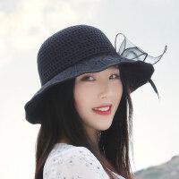 时尚帽女骑车防晒帽 户外休闲大沿草帽可折叠沙滩太阳帽子 新款遮阳帽女