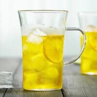 红兔子 330ML家用带把手玻璃杯子高温耐热单层玻璃杯防烫大口单层透明绿茶杯 无盖耐热玻璃水杯