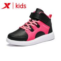 特步童鞋男童女童冬季新款儿童运动鞋小白鞋高帮魔术贴系带682414319082