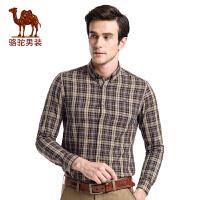 骆驼男装 秋季新款青年日常休闲扣领尖领修身格子长袖衬衫男
