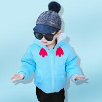罗町冬季新款夹棉加厚外套小鸡造型连帽外出服1-2-3岁男女宝宝儿童外出服