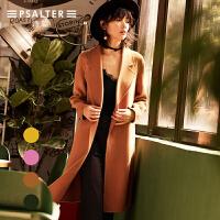 预售-诗篇2017冬季新品 简约双面呢中长款毛呢外套大衣6C57580467