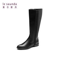 莱尔斯丹 秋冬新款专柜款欧美潮流骑士靴女高筒靴 7T28505P