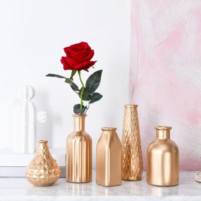 美庭 北欧风插干花金色玻璃花瓶 陶瓷花器现代简约样板间软装家居客厅电视柜摆件支付礼品卡 轻奢金色设计 沉稳质感