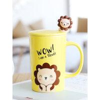 创意卡通家用陶瓷马克杯子女ins可爱带盖勺早餐咖啡杯喝水杯茶杯