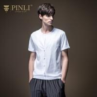 PINLI品立2020夏季新款男装修身假两件短袖T恤男打底衫日常休闲