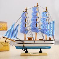 地中海风格木质帆船摆件一帆风顺帆船模型创意家居装饰品手工艺品