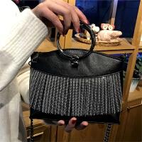 个性小包包圆环流苏手提包2018韩版女包时尚百搭单肩包链条斜跨包 黑色