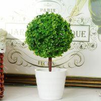 家居饰品仿真圆球小树苗丛塑料花盆假花盆栽酒柜书柜装饰摆件绿植