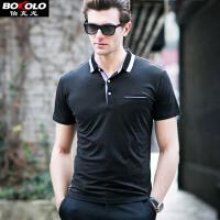 伯克龙 短袖POLO衫男士 纯棉T恤夏季新款舒适翻领保罗衫修身青中年男装 Z87577
