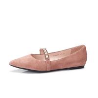骆驼女鞋2019春季新款羊皮尖头单鞋女时尚通勤浅口套脚平底鞋子女