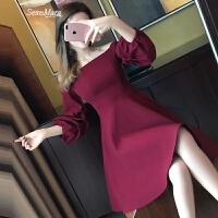 性感露肩一字领连衣裙女2018春装新款收腰显瘦名媛气质小礼服裙子 酒红色