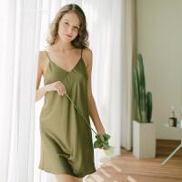抹茶慕斯性感睡衣清新芥末绿V领吊带宽松睡裙 橄榄绿 不含内裤 155(S)