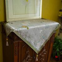 中式花鸟桌布方形冰箱盖布床头柜盖布布艺餐桌布台布梳妆台罩 银色 银鸟桌布