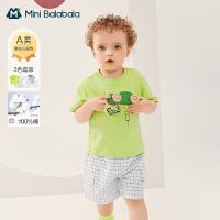 迷你巴拉巴拉男童纯棉短袖T恤短裤套装2021夏季新款宽松舒适清凉