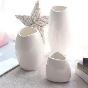 幸阁 插花高温细瓷纯白陶瓷花瓶 仿真花插花家居用品工艺品