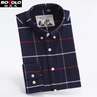 伯克龙 男士商务休闲纯棉麻料短袖衬衫 男装夏季新款格子修身短袖衬衣 Z7889