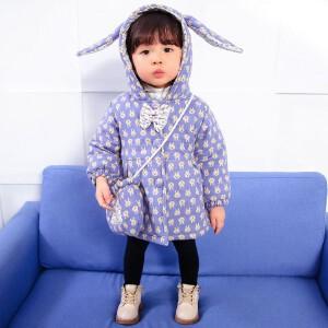百槿 冬季女童加厚蝴蝶兔耳连帽棉服 中小童加厚蝴蝶兔耳连帽棉服
