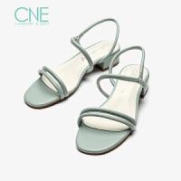 【顺丰包邮,大牌价:298】CNE2019夏季新款凉鞋女仙女风一字带玛丽珍鞋chic风凉鞋AM23701