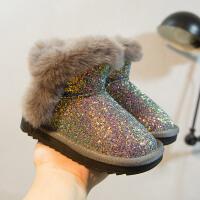 女童雪地靴加绒加厚冬季2018新款儿童宝宝防滑短靴子公主防水棉鞋