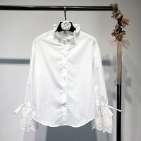 女装早春新款立领木耳边系带喇叭袖白色衬衫甜美打底衫