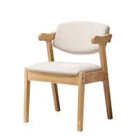 实木椅子北欧家用电脑椅靠背学习椅现代简约白色休闲椅布艺书桌椅 实木脚