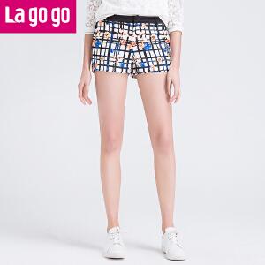 lagogo拉谷谷春季新款时尚百搭短裤