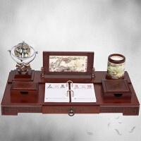 总经理办公室桌面摆件大班台木质文台笔筒工艺品开业礼品