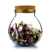 玻璃糖果杂粮干果罐花茶储藏罐 耐热玻璃茶叶罐 圆球状木塞密封储物罐