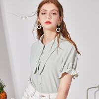 【3件2.5折到手价:112元】秋水伊人短袖衬衫2019夏新款女装纯色方领荷叶袖设计感小众上衣女
