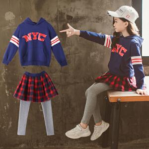 童装2018秋季新款女童NYC裙裤套装儿童长袖上衣+裙裤女孩两件套
