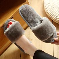 毛毛拖鞋女夏季春秋家居家用室内地板软底一字拖毛绒棉拖鞋保暖防护 灰色 M-1