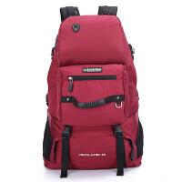 户外登山包60L休闲双肩包迷彩大容量旅行背包日韩男女旅游包背囊 红色 061
