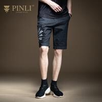PINLI品立2020夏季新款男装修身绣花水洗休闲牛仔短裤男潮日常