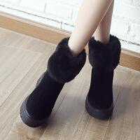ZHR2019秋冬季新款兔毛内增高短靴加绒厚底棉鞋真皮高跟学生女靴