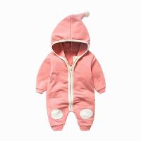 女婴儿童运动开衫外套装卫衣服0岁6个月1秋装3连体衣宝宝春秋装 浅灰色 粉色白边连帽