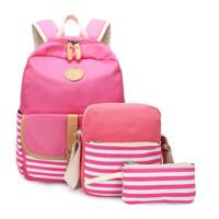 双肩帆布包女士休闲旅行背包初中生高中大学生书包