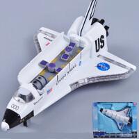 航天飞机模型 儿童合金玩具飞机声光合金回力哥伦比亚穿梭机 航天飞机礼盒装