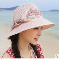 可折叠太阳帽防晒沙滩帽大沿帽帽子女夏天草帽防紫外线韩版遮阳帽