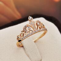 戒指女皇冠日韩潮人个性食指指环关节简约镀玫瑰金时尚手饰品