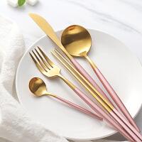 光一ins西餐牛排不锈钢刀叉套装家用叉子网红长柄勺子筷子餐具三件套