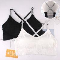 夏季白色抹胸裹胸女薄款银色吊带小背心美背文胸内衣高中学生少女