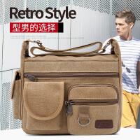 男包帆布单肩包男斜挎包男士包包背包休闲运动包时尚潮跨包公文包