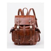复古双肩包女女包校园大容量书包软皮包时尚旅行背包