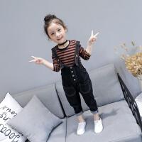 201女童套装春装新款洋气儿童条纹打底衫牛仔背带裤两件套韩版潮