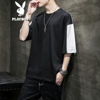 花花公子短袖T恤男2020夏季新款韩版潮牌时尚圆领T弹力短袖上衣服男装